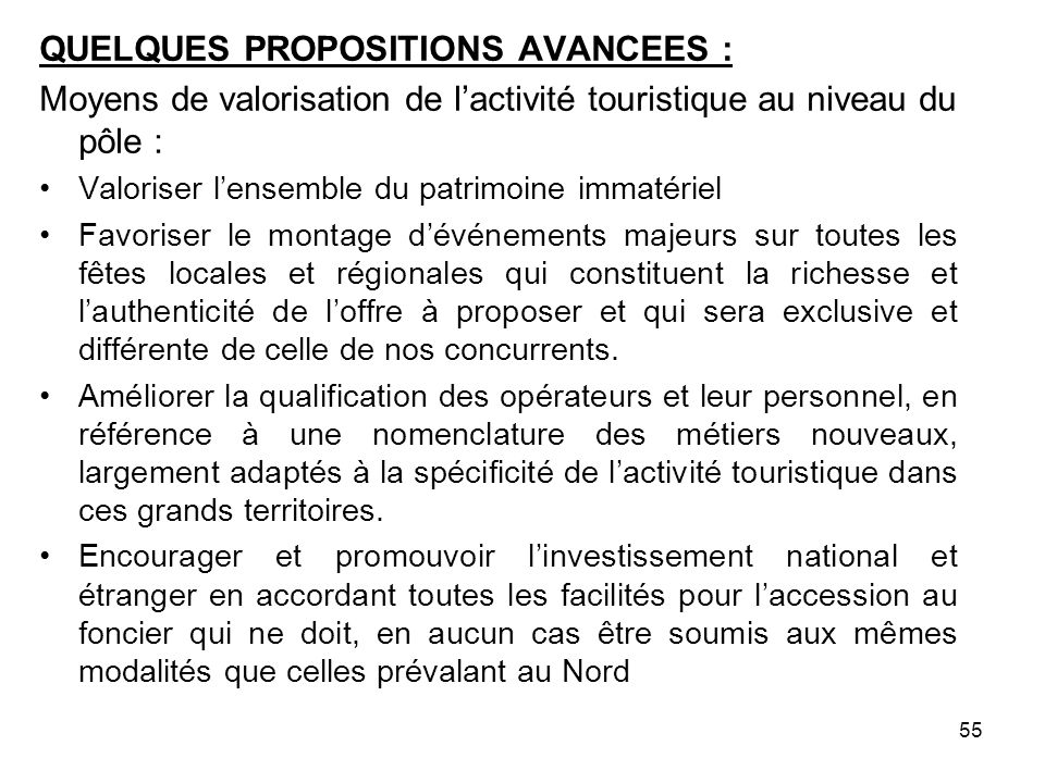 QUELQUES PROPOSITIONS AVANCEES :