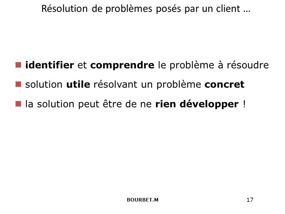 Résolution de problèmes posés par un client …