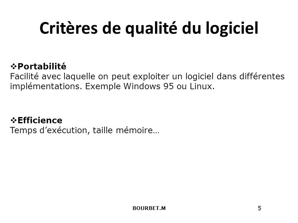 Critères de qualité du logiciel