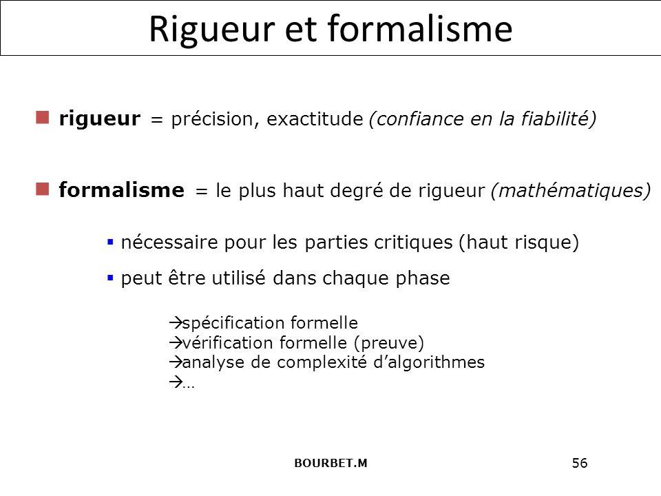 Rigueur et formalisme rigueur = précision, exactitude (confiance en la fiabilité) formalisme = le plus haut degré de rigueur (mathématiques)