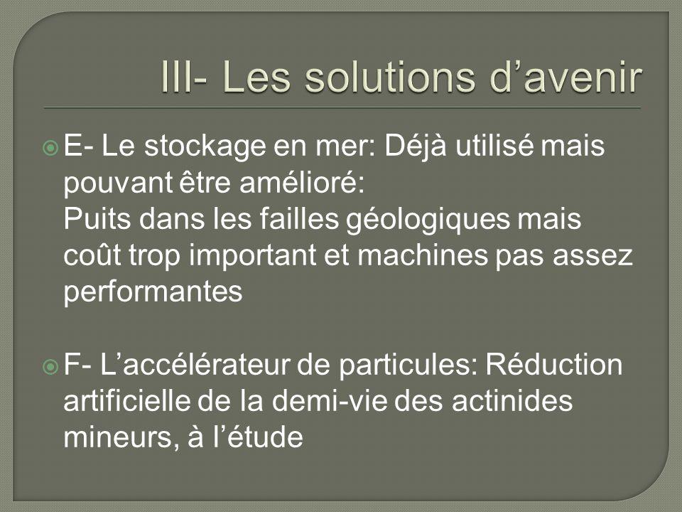 III- Les solutions d'avenir