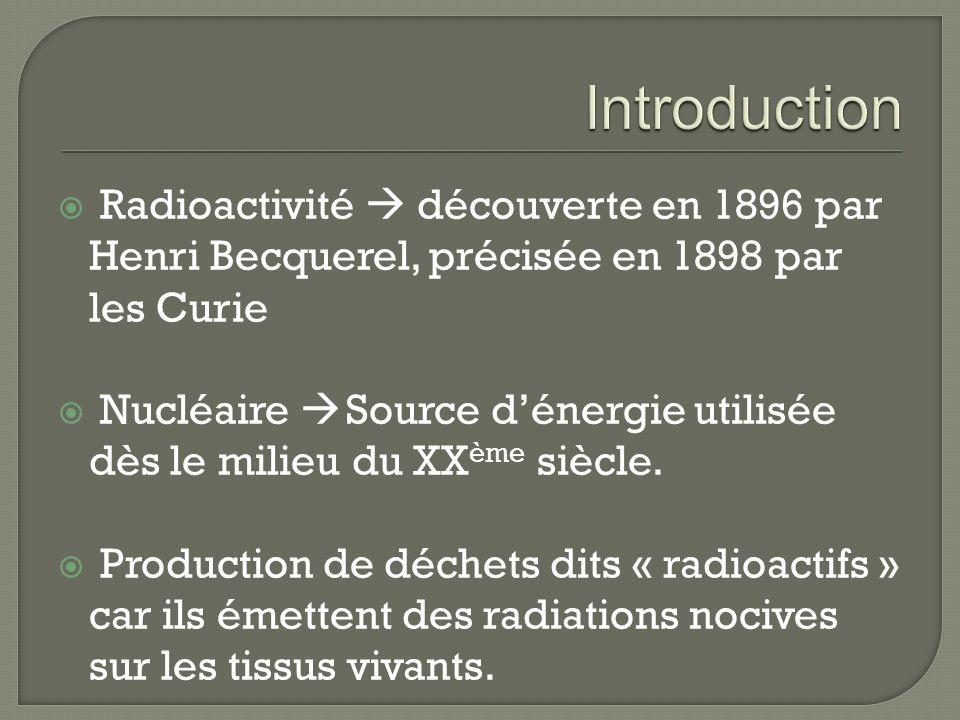 Introduction Radioactivité  découverte en 1896 par Henri Becquerel, précisée en 1898 par les Curie.