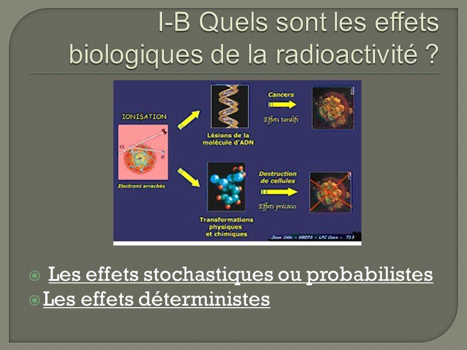 I-B Quels sont les effets biologiques de la radioactivité