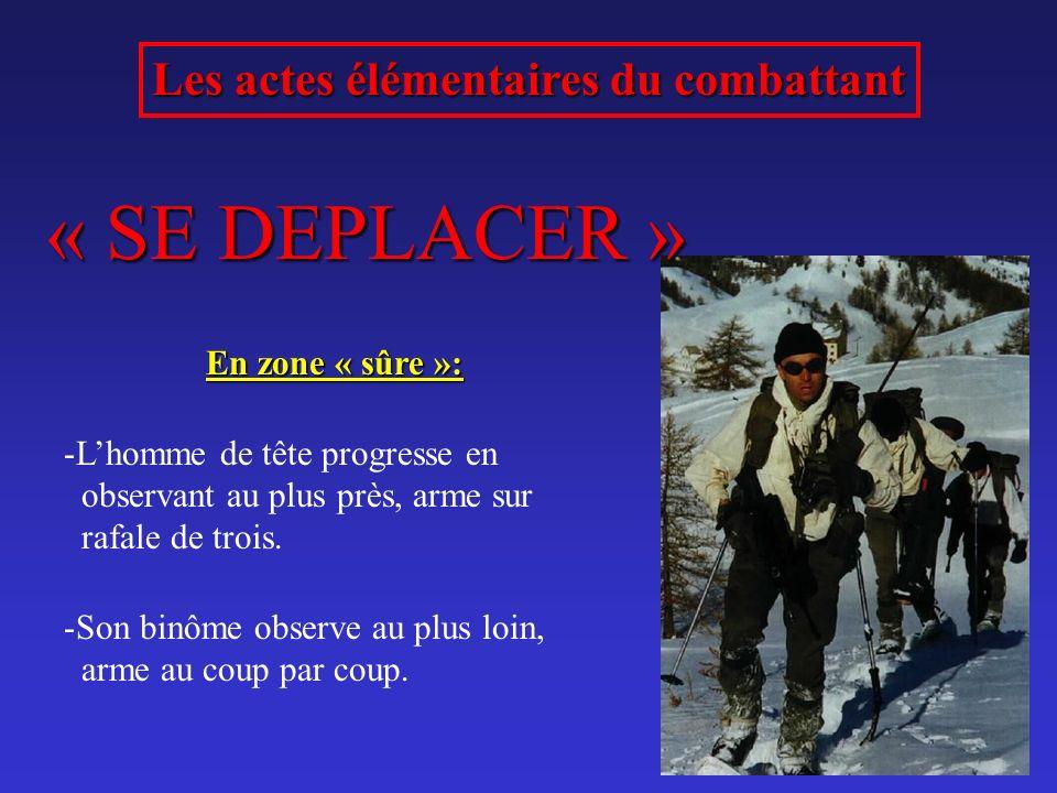 « SE DEPLACER » Les actes élémentaires du combattant En zone « sûre »: