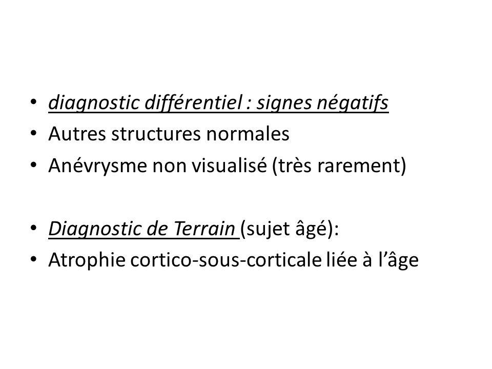 diagnostic différentiel : signes négatifs