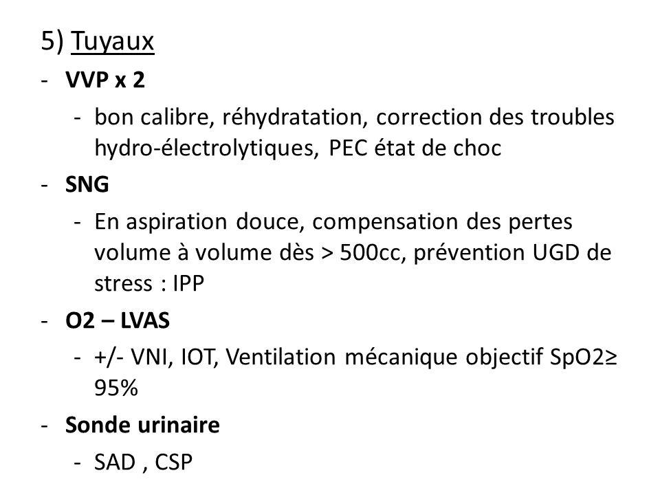 5) Tuyaux VVP x 2. bon calibre, réhydratation, correction des troubles hydro-électrolytiques, PEC état de choc.