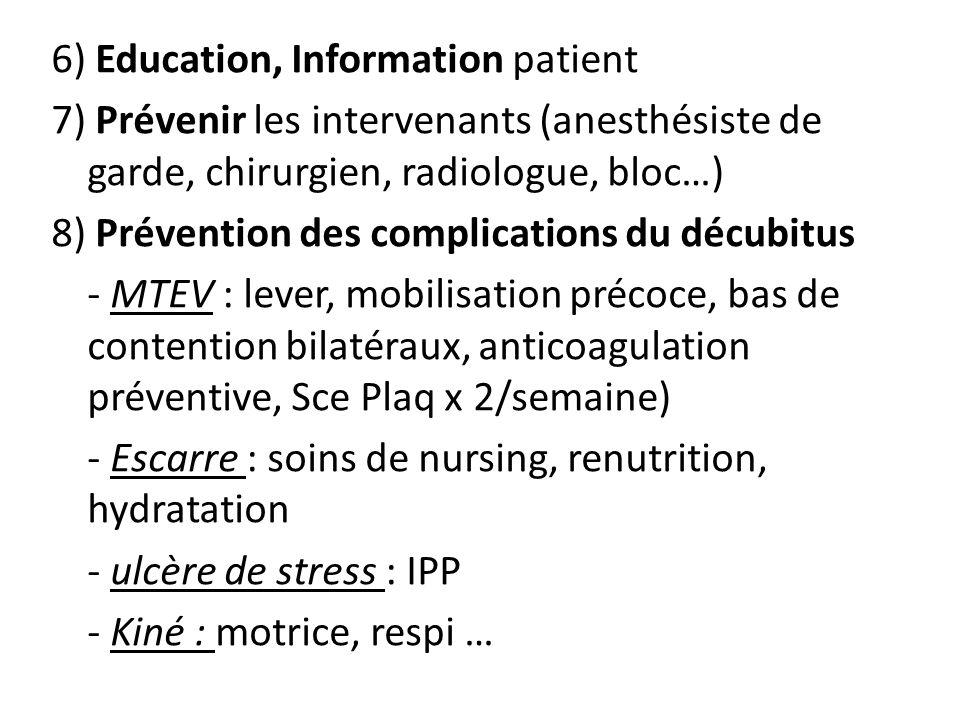 6) Education, Information patient 7) Prévenir les intervenants (anesthésiste de garde, chirurgien, radiologue, bloc…) 8) Prévention des complications du décubitus - MTEV : lever, mobilisation précoce, bas de contention bilatéraux, anticoagulation préventive, Sce Plaq x 2/semaine) - Escarre : soins de nursing, renutrition, hydratation - ulcère de stress : IPP - Kiné : motrice, respi …