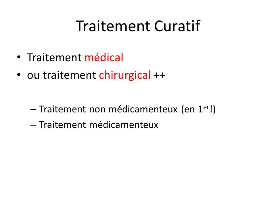Traitement Curatif Traitement médical ou traitement chirurgical ++