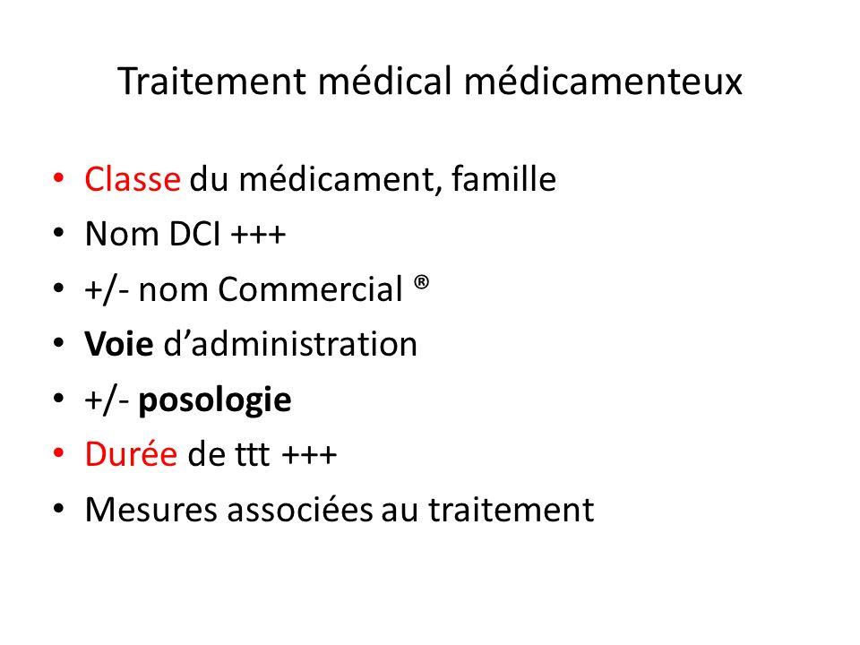 Traitement médical médicamenteux