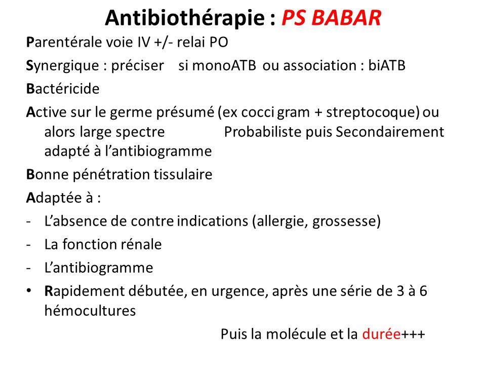 Antibiothérapie : PS BABAR