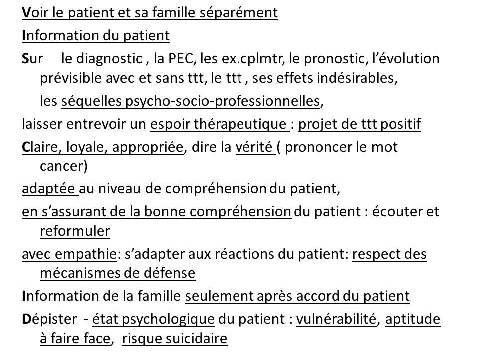 Voir le patient et sa famille séparément