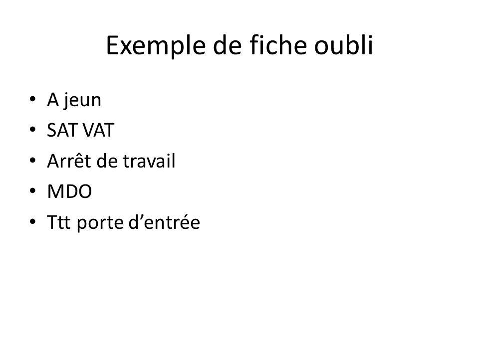 Exemple de fiche oubli A jeun SAT VAT Arrêt de travail MDO