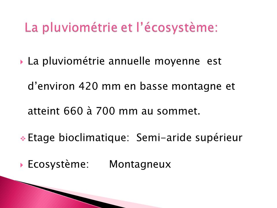 La pluviométrie et l'écosystème: