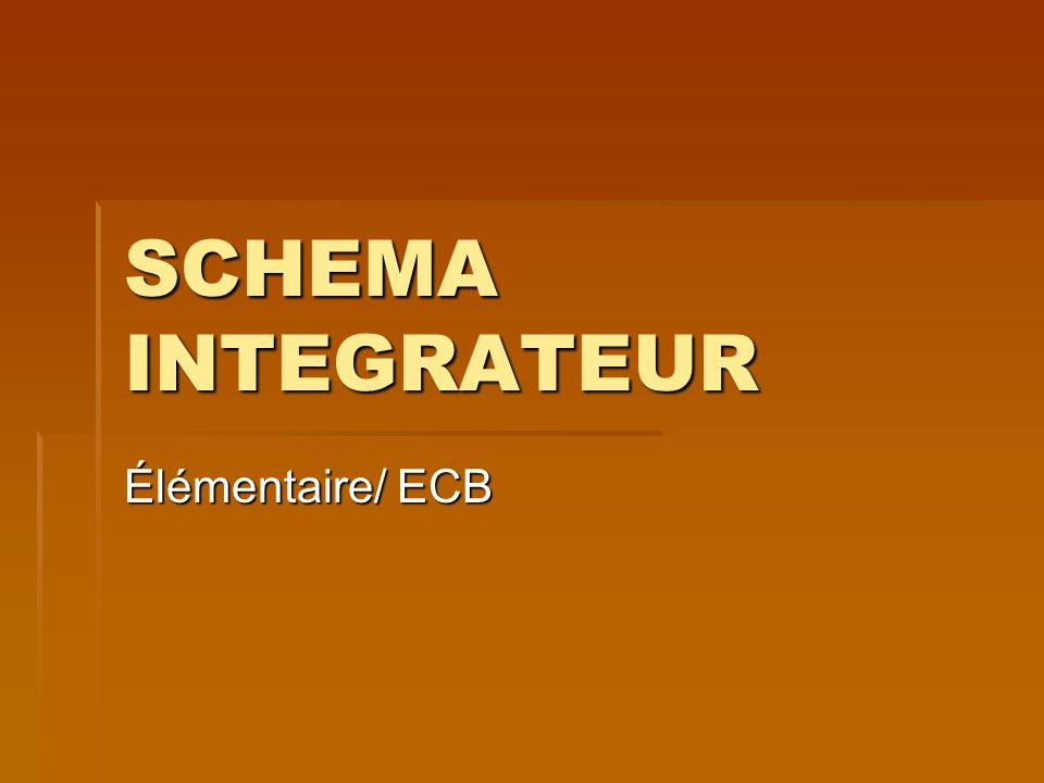 SCHEMA INTEGRATEUR Élémentaire/ ECB