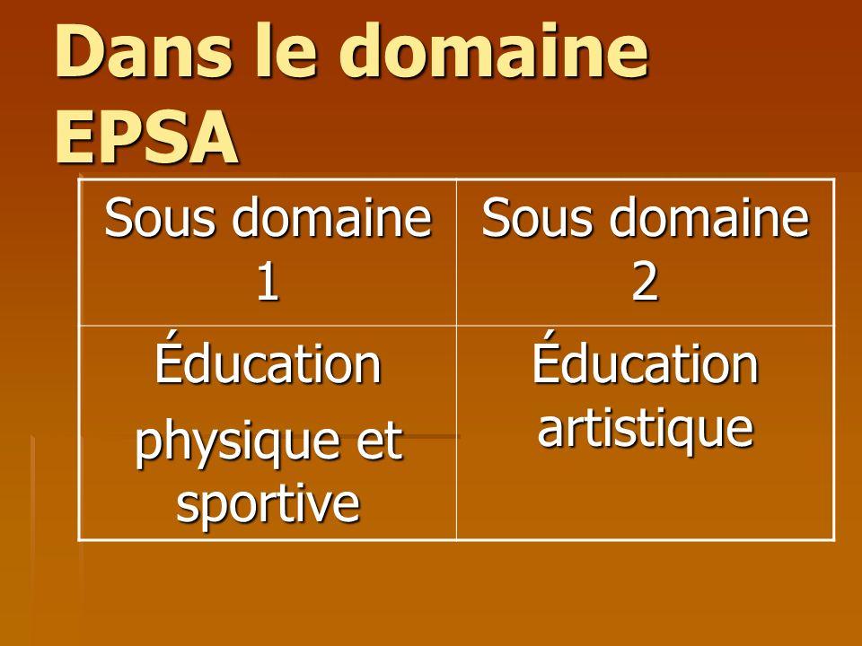 Dans le domaine EPSA Sous domaine 1 Sous domaine 2 Éducation