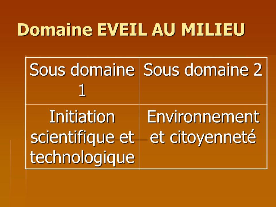 Domaine EVEIL AU MILIEU