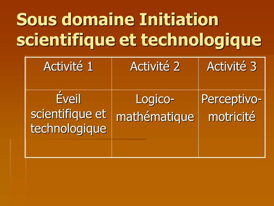 Sous domaine Initiation scientifique et technologique