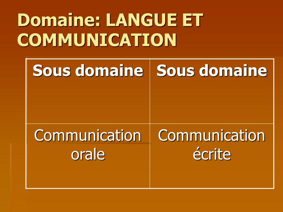 Domaine: LANGUE ET COMMUNICATION