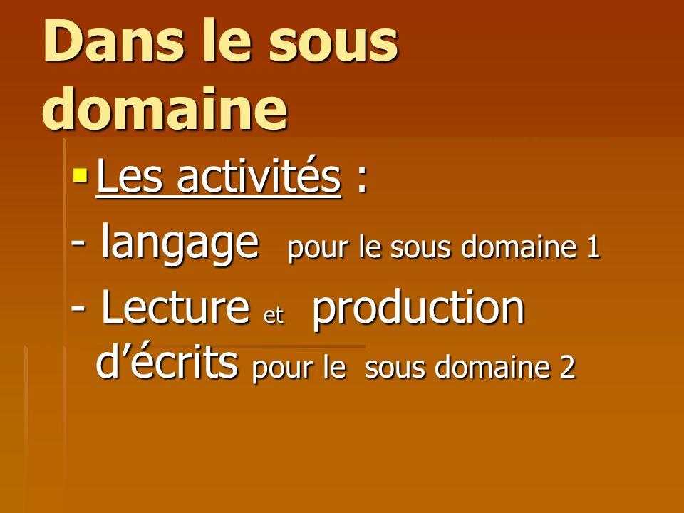 Dans le sous domaine Les activités : - langage pour le sous domaine 1