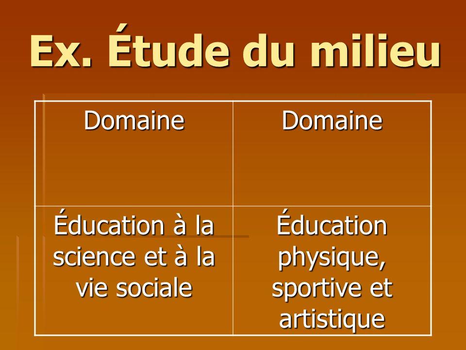Ex. Étude du milieu Domaine Éducation à la science et à la vie sociale