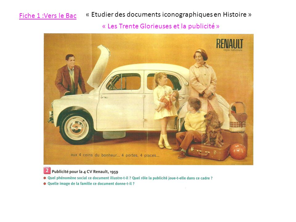 Fiche 1 :Vers le Bac « Etudier des documents iconographiques en Histoire » « Les Trente Glorieuses et la publicité »