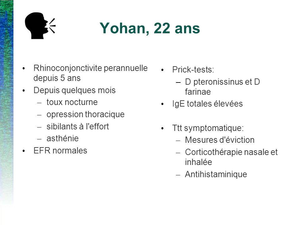Yohan, 22 ans Rhinoconjonctivite perannuelle depuis 5 ans Prick-tests: