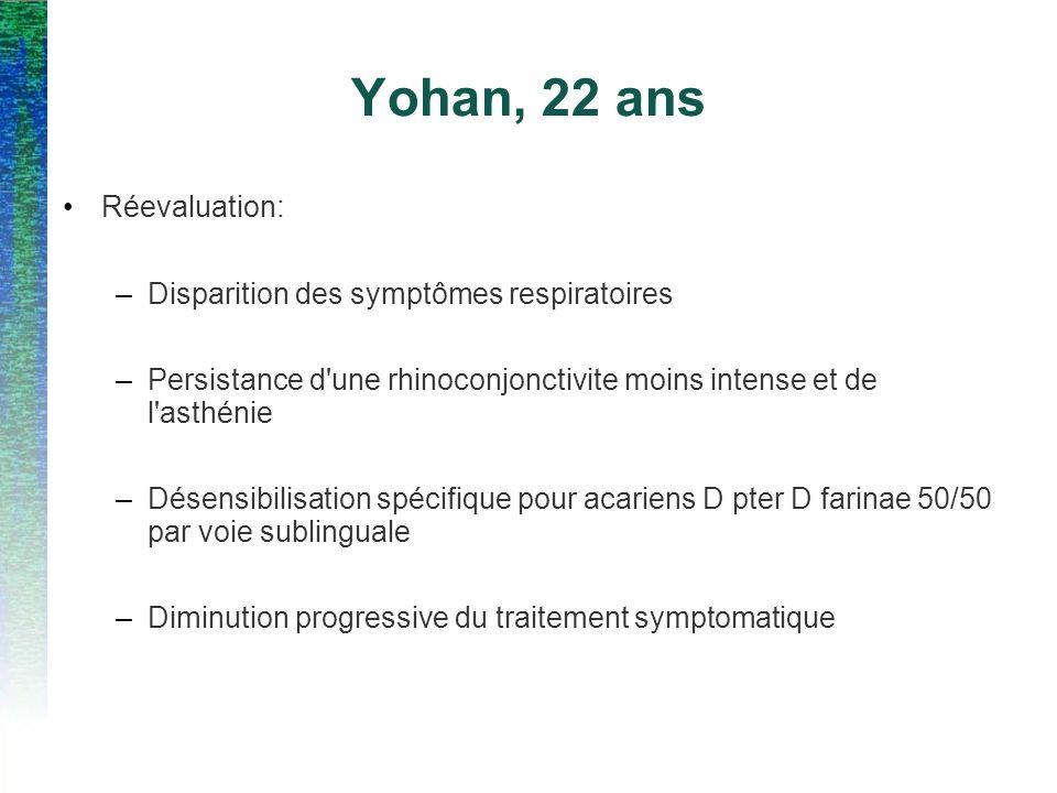 Yohan, 22 ans Réevaluation: Disparition des symptômes respiratoires