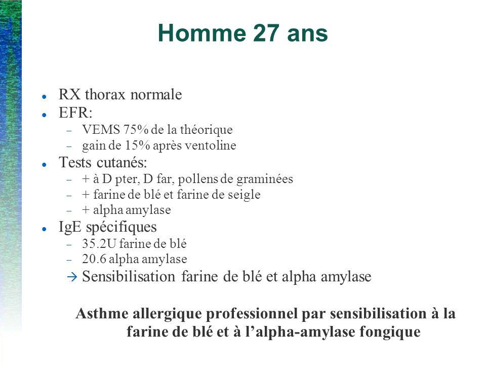 Homme 27 ans RX thorax normale EFR: Tests cutanés: IgE spécifiques