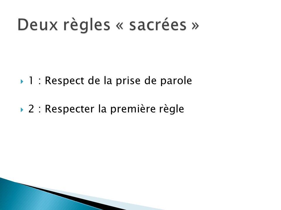 Deux règles « sacrées » 1 : Respect de la prise de parole