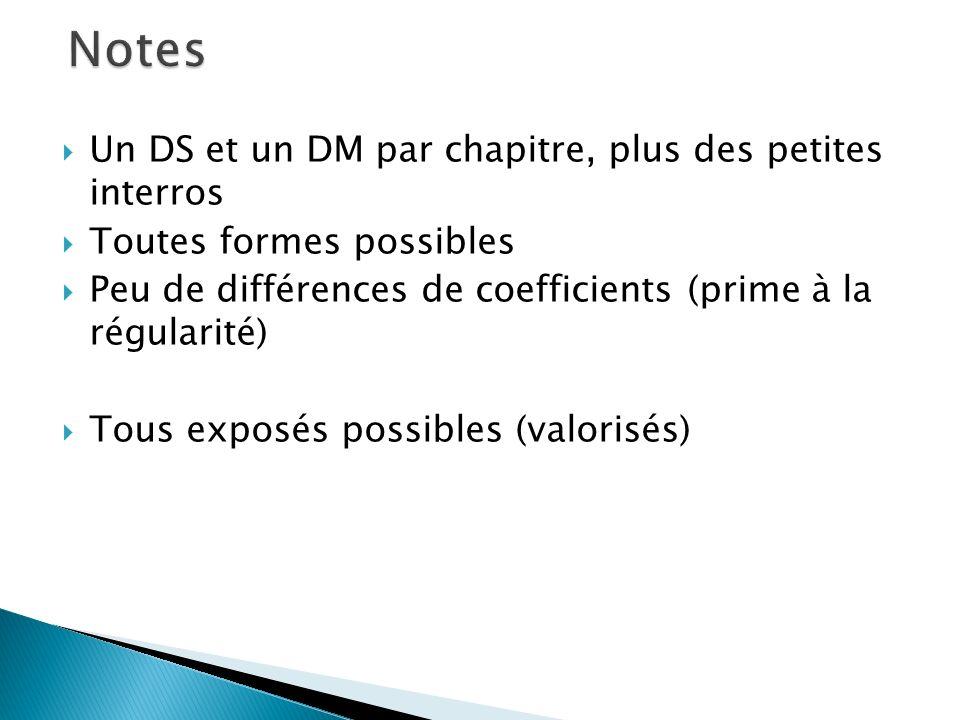 Notes Un DS et un DM par chapitre, plus des petites interros