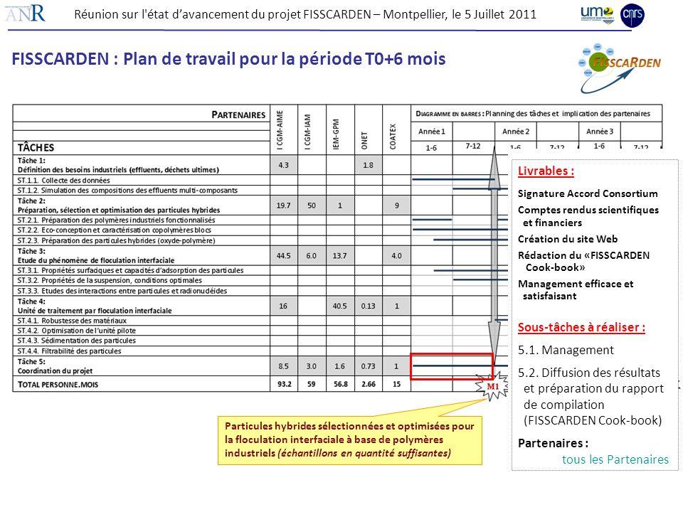 FISSCARDEN : Plan de travail pour la période T0+6 mois