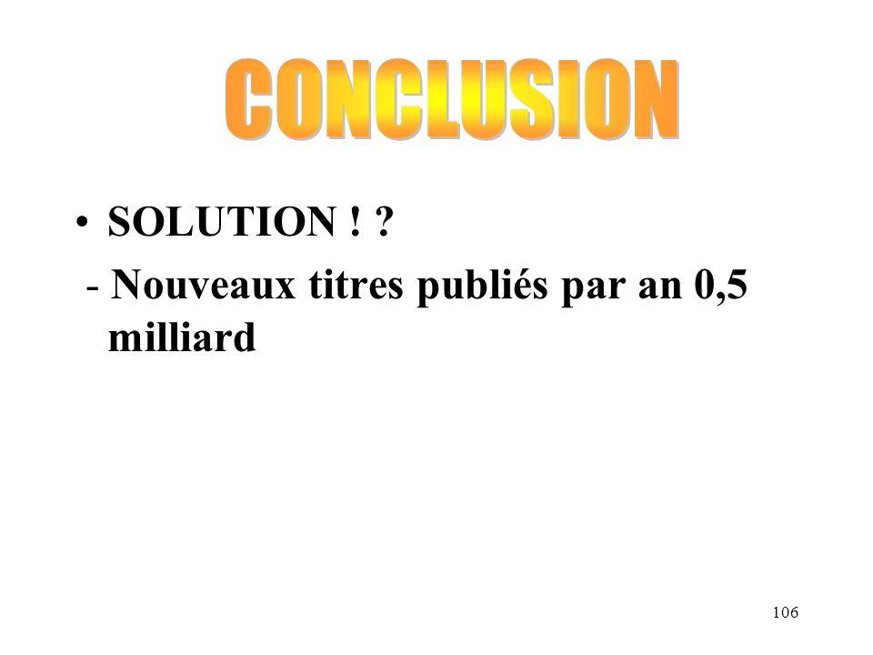CONCLUSION SOLUTION ! - Nouveaux titres publiés par an 0,5 milliard