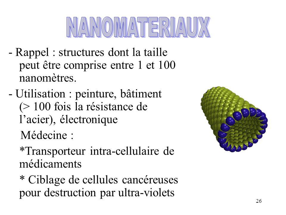 NANOMATERIAUX - Rappel : structures dont la taille peut être comprise entre 1 et 100 nanomètres.