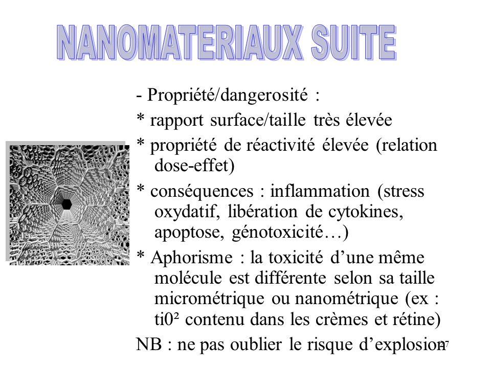 NANOMATERIAUX SUITE - Propriété/dangerosité :
