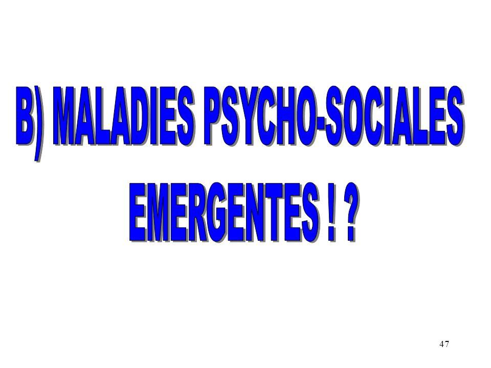 B) MALADIES PSYCHO-SOCIALES