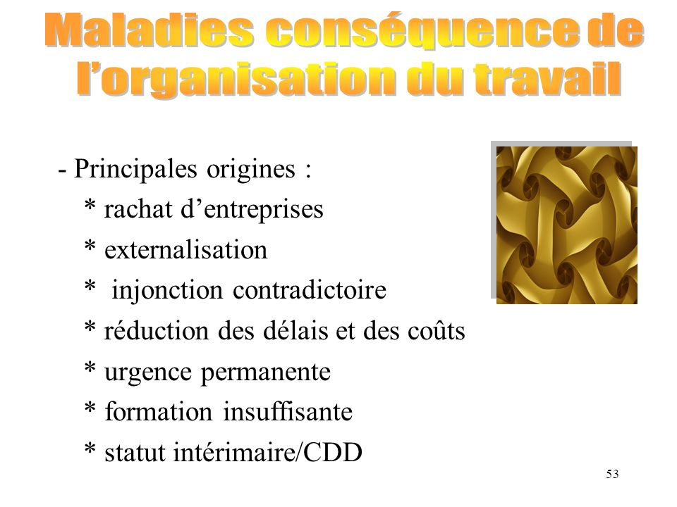 Maladies conséquence de l'organisation du travail