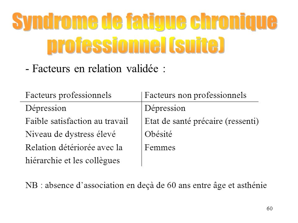 Syndrome de fatigue chronique professionnel (suite)