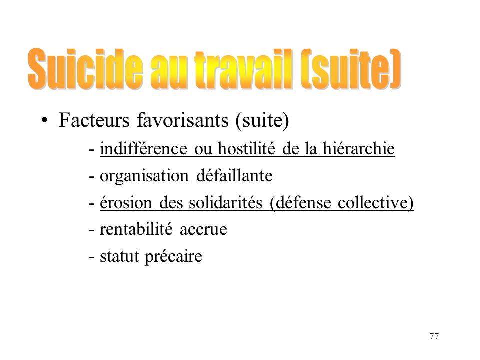 Suicide au travail (suite)
