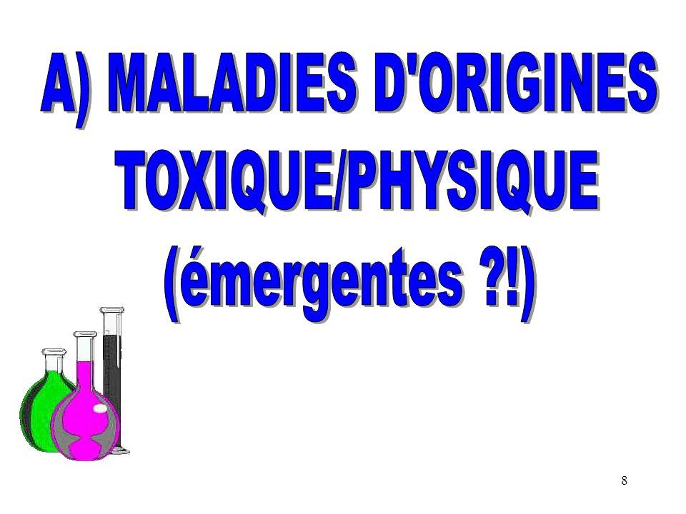 A) MALADIES D ORIGINES TOXIQUE/PHYSIQUE (émergentes !)
