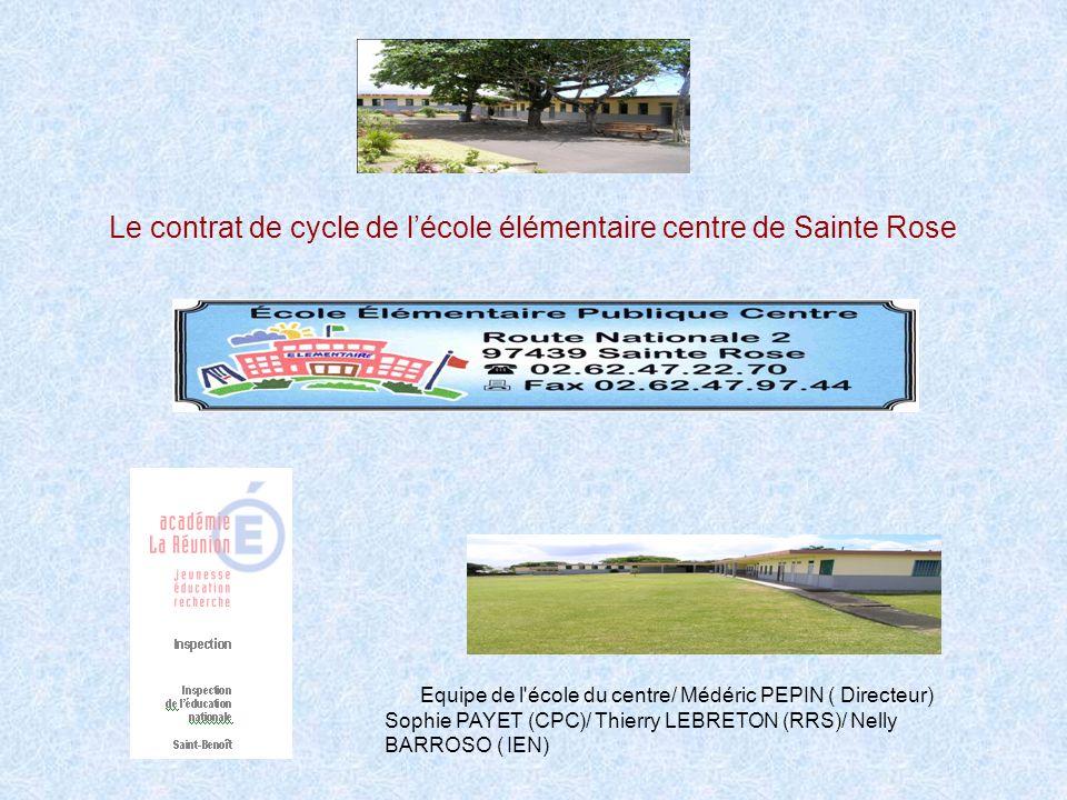 Le contrat de cycle de l'école élémentaire centre de Sainte Rose