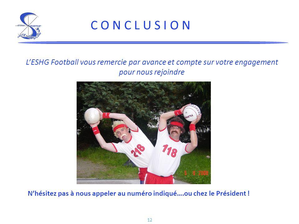 C O N C L U S I O N L'ESHG Football vous remercie par avance et compte sur votre engagement pour nous rejoindre.