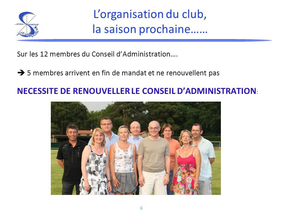 L'organisation du club, la saison prochaine……