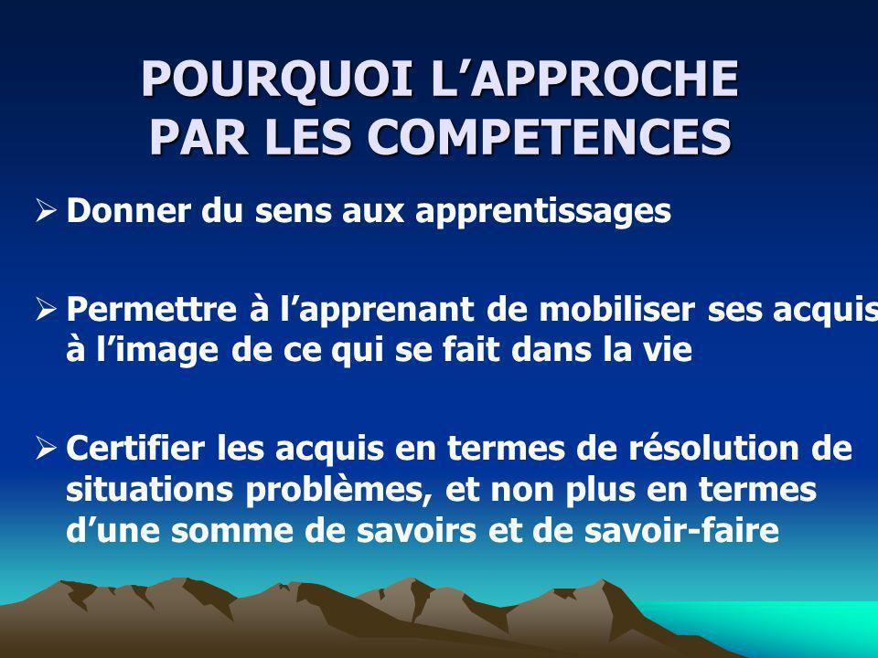 POURQUOI L'APPROCHE PAR LES COMPETENCES