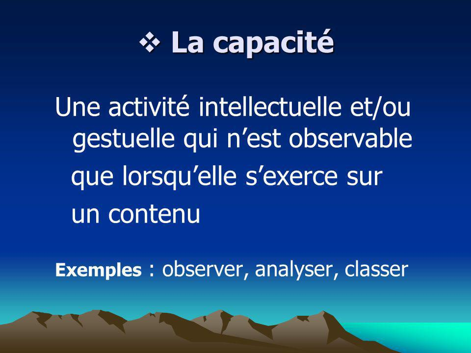 La capacité Une activité intellectuelle et/ou gestuelle qui n'est observable. que lorsqu'elle s'exerce sur.