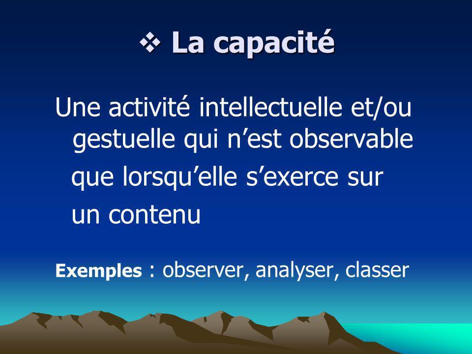 La capacitéUne activité intellectuelle et/ou gestuelle qui n'est observable. que lorsqu'elle s'exerce sur.