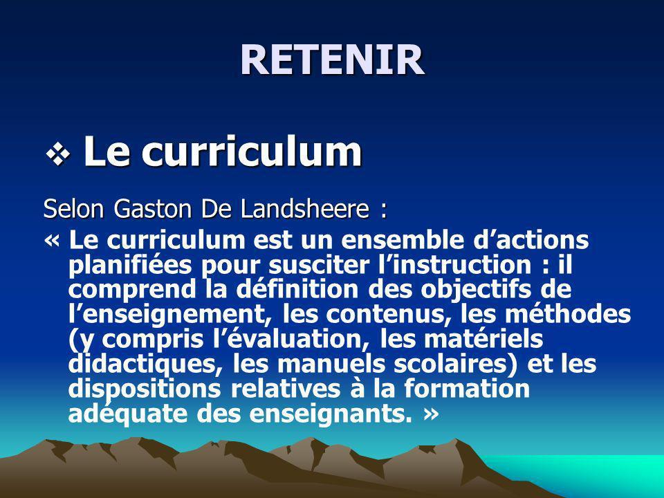 RETENIR Le curriculum Selon Gaston De Landsheere :