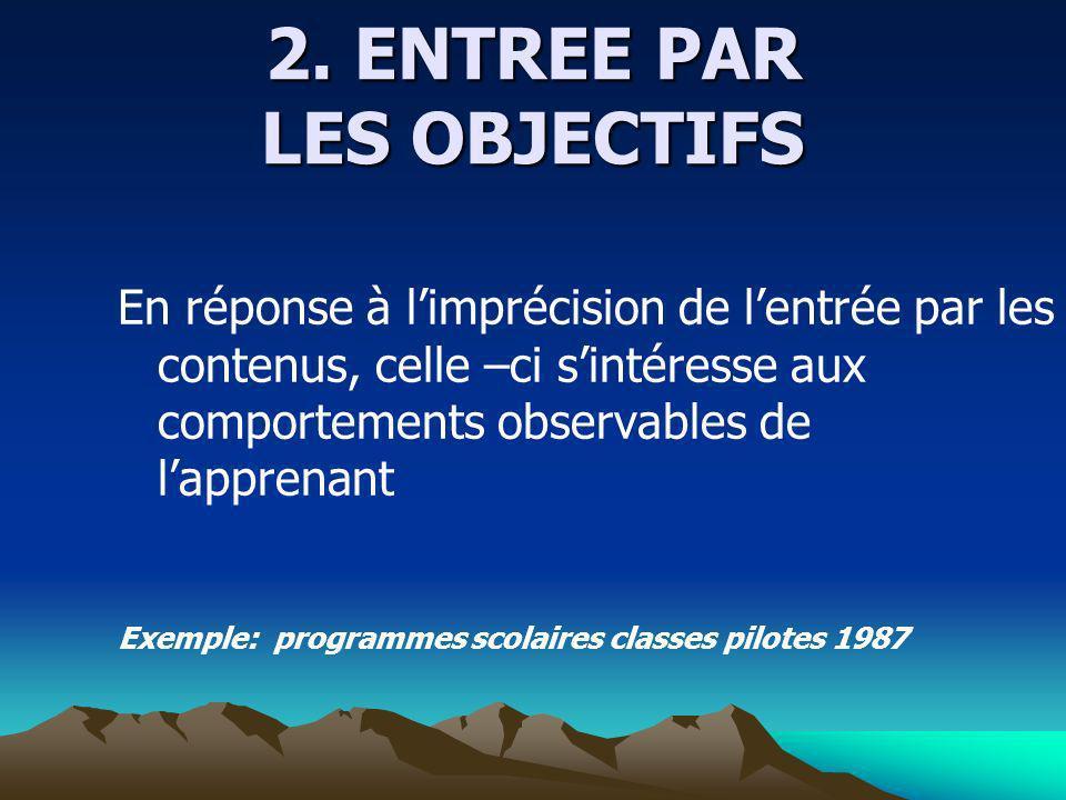 2. ENTREE PAR LES OBJECTIFS