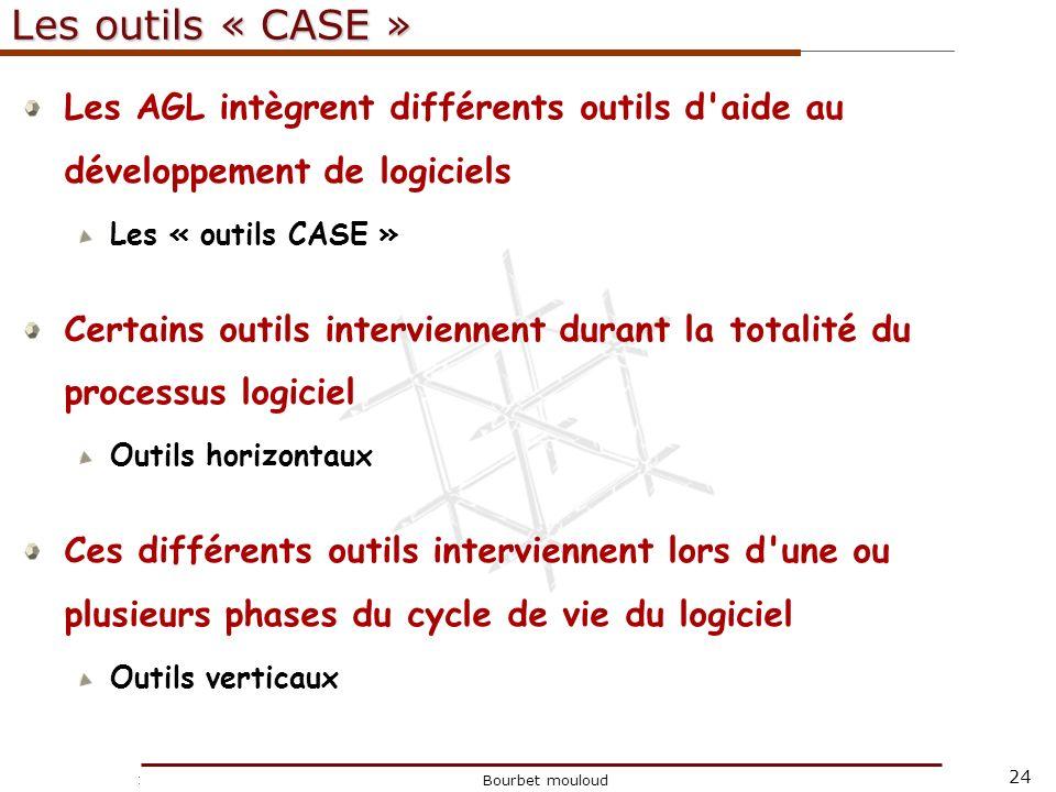 Les outils « CASE » Les AGL intègrent différents outils d aide au développement de logiciels. Les « outils CASE »