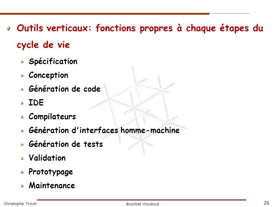 Outils verticaux: fonctions propres à chaque étapes du cycle de vie