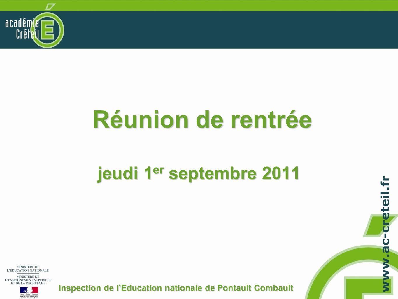 Réunion de rentrée jeudi 1er septembre 2011
